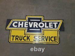 Porcelaine Chevrolet Camion Service Sign 36 X 18 Pouces Double Face