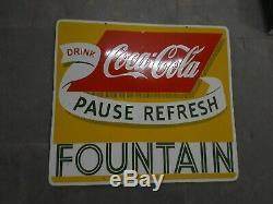 Porcelaine Coca Cola Fontaine Émail Sign 28 X 25 Pouces Double Face