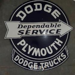Porcelaine Dodge Plymouth Truck Enseigne Émaillée 30 X 31 Pouces, Double Face D'occasion