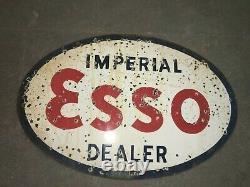 Porcelaine Esso Imperial Émail Signe 36 X 24 Pouces Double Sided