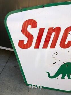 Porcelaine Gas & Oil Ancienne Double Face Sinclair Original Dsp 7 'vintage Patine