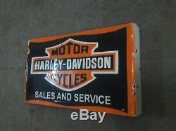 Porcelaine Harley Davidson Signe Taille 19,5 X 13 Pouces Double Face Avec Bride