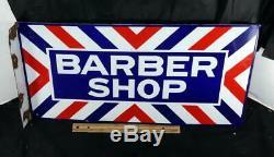 Porcelaine Originale Et Vintage Barber Shop Double Face À Bride Marqué E Sign