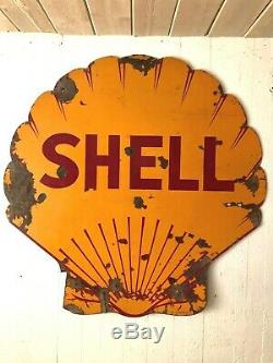 Porcelaine Shell Oil & Gas 48 Original Shell En Forme De Double Signe Sided