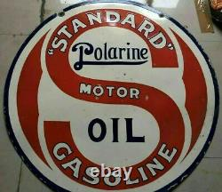 Porcelaine Standard Polarine Motor Oil Sign Size 42 Rond Double Face