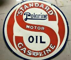 Porcelaine Standard Polarine Motor Oil Sign Size 42 Round Double Sided