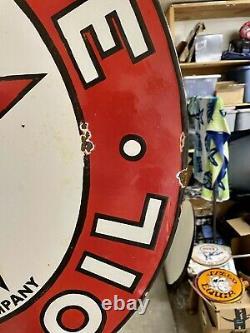 Porcelaine Texaco Texas Company With Mounting Bracket Sign 30 Double Face 2 Côté