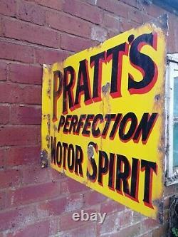 Pratts Signe D'émail Double Sided Flanged Signe Mural Pratts Motor Spirit Garage #1