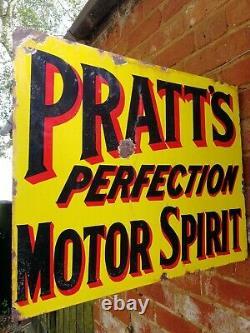 Pratts Signe Émail Double Côté Brided Panneau Mural Pratts Motor Spirit Garage