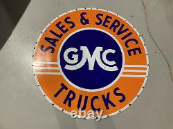 Prisitiine 42 Dual Sided Porcelain Gmc Parts & Service Sign