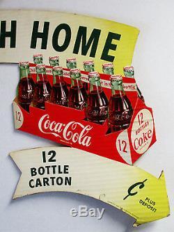 Publicité Originale En Carton Découpé À Double Face Coca-cola, Vers 1954