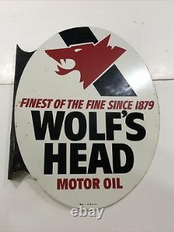Publicité Vintage 1974 Wolf's Head Oil Double Sided Flanged Sign 024-a-m 4-74