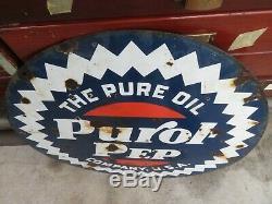 Pure Oil Purol Pep Double Face En Porcelaine Curb Signe Burdick Newberry 25 1/2'