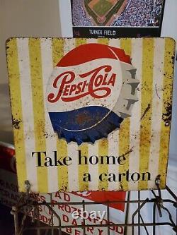 Rack D'affichage En Métal Pepsi Cola Vintage Des Années 1950 Panneau Double Face