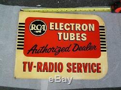 Radio Service 1950`s Tv Rca Double Face En Métal Bride Publicité Connexion