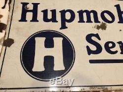 Rare 1915 Hupmobile Service Enseigne Des Véhicules À Moteur À Double Face En Porcelaine De 16 '' X 30 ''