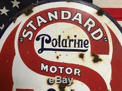 Rare! 1920 Standard Polarine Huile Moteur Essence Double Face Porcelaine Signe