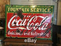 Rare. 1933 Coca Cola Double Sided Fountian Service En Porcelaine Sign. Taille Énorme
