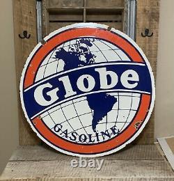 Rare 30 Globe Essence Double Côté Porcelaine Signe! Sinclair, Shell, Texaco