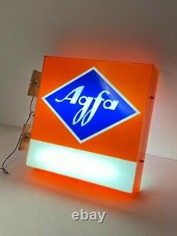 Rare Agfa Photo Shop Sign / Agfa Double Sided Plaque Des Années 1980 / Publicité Vintage