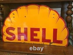 Rare. Années 1930 Essence Shell Clam Shell Porcelaine À Double Face Signe 48 Pouces