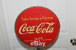 Rare Antique Coca Cola 6 Pack Support D'affichage De Magasin Avec Double Face Sign
