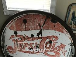 Rare Antique Pepsi Cola Double Dot Signe En Porcelaine Double Face 42 Pouces