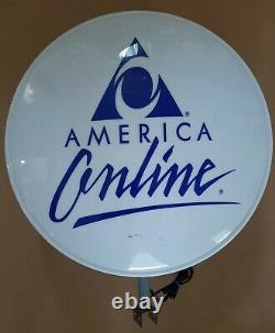 Rare Aol America Online Double Face Lighted Enseigne D'affichage Internet De 1990