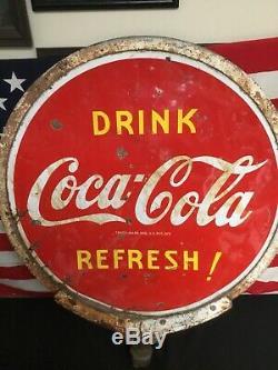 Rare Double Face 1941 Coca Cola Lollipop Signe Avec Support Original. Base De Non
