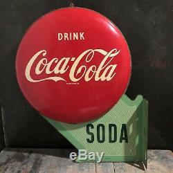 Rare Double Face Bouton Métal Coca-cola Soda Hanging Bride 1950 Signe Daté