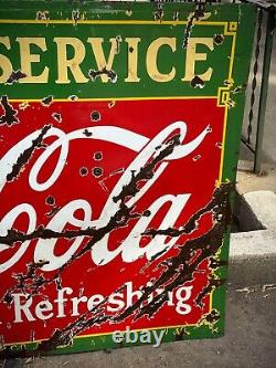 Rare Double Face Coca Cola Fontaine Service De Porcelaine 60x42 1930 États-unis Inscrivez-vous