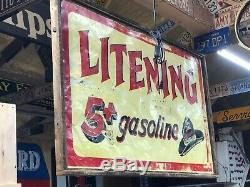 Rare Essence De Lituillage Original Vintage Plaque Double Face Western Gas-oil Cowboy