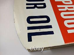 Rare Grand Vintage Metal Gulf Motor Oil Double Sided Flange Signe