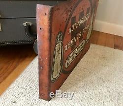 Rare Original 1955 Westinghouse Lamp Company Étain Signe Double Bride Étain