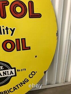 Rare Original Pénotol Huile De Moteur Porcelaine Double Sided 36 Signe! Atlanta
