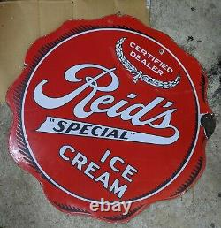 Rare Original Reids Ice Cream Double Sided Diecut Signe De Porcelaine