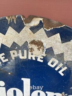 Rare Original Tiolene Huile Moteur Porcelaine Signe Huile Pure Publicité Double Face