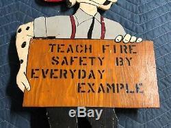 Rare Original Vintage Sparky Fire Dog Département Mascotte Double Sided Painted Vieux