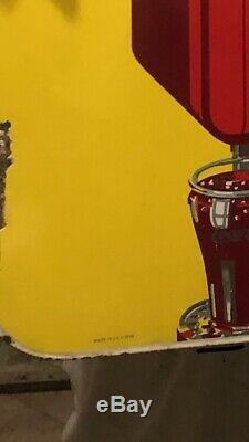 Rare Originale 1939 Porcelaine Bilaterale Distributeur Coca Cola Soda Fountain Signe
