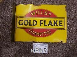 Rare Petite Enseigne En Émail Double Face. Vintage Antique. Wills Gold Flake LIL Beaut