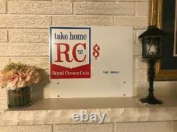 Rare Porcelaine Vintage À Double Face Royal Crown Cola Rc Soda Pop Store Sign