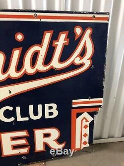 Rare Schmidts City Club Bilaterale Porcelaine Publicité Bière Signe! Sensationnel