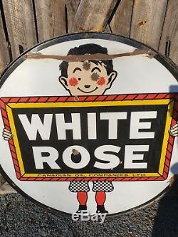 Rare Signe De Porcelaine Essence Rose Blanche De 48 Pouces. Double Face. Canadien