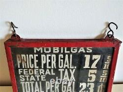 Rare Teens Teens-early 1920's Double-side Visible Pompe À Gaz Mobilgas Prix