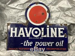 Rare Vintage Havoline Indian Refining Company Porcelaine Double Signe