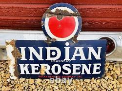 Rare Vintage Original Indien Kerosene Porcelaine Émail Double Sided Flange Signe