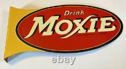 Rare Vintage Original Moxie Soda Sign Drink Moxie Panneau Bride Double Face