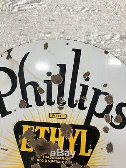 Rare Vintage Original Phillips 66 Ethyl Porcelaine 30 Signe Double Face Huile Gaz