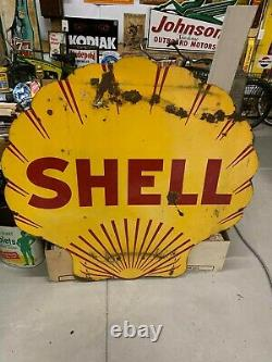 Rare Vintage Porcelaine Double Face Dsp Shell Clamshell Panneau Gas Oil Service Sta