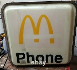 Rare Vintage Ronald Mcdonalds Téléphone Booth Sign Flange Double Côté Éclairé